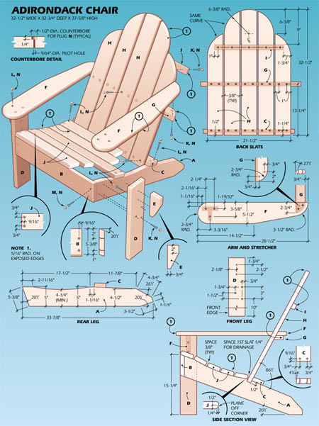 adirondack chair skis plans