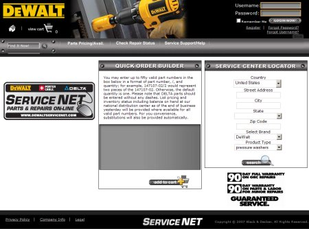 Screenshot of Dewalt Service Net  Website