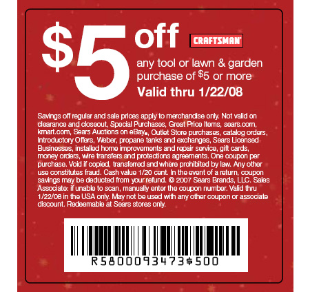 54 Responses to Dealmonger: Sears $5 Off $5