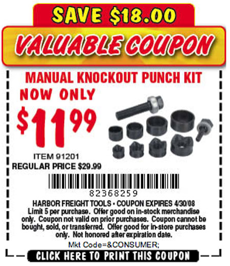 Manual knock out punch set
