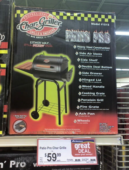 We Came Across This Patio Pro Grill At The Local Albertsonu0027s Earlier This  ...