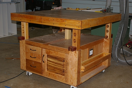 adjustable height woodworking bench