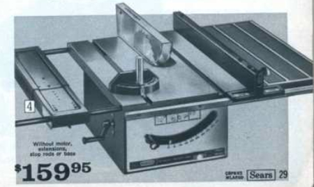 "1972 Craftsman 10"" bench saw for $159"