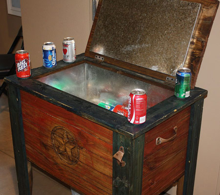 Coolers ice chest on pinterest wooden cooler coolers for Wooden beer cooler plans