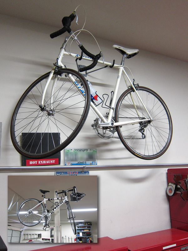 The best way to hang bikes in the garage is definitely through installing bicycle hooks in the walls of your garage. In this way, you get to save space from the floor, and you also keep it away from being a toy to the kids around you.